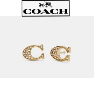 """NWT SILVER Authentic Coach Signature """"C"""" Earrings"""